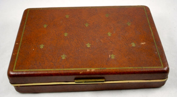 Vintage Brown Leatherette unisex JEWELRY BOX by LuckySevenVintage, $25.00