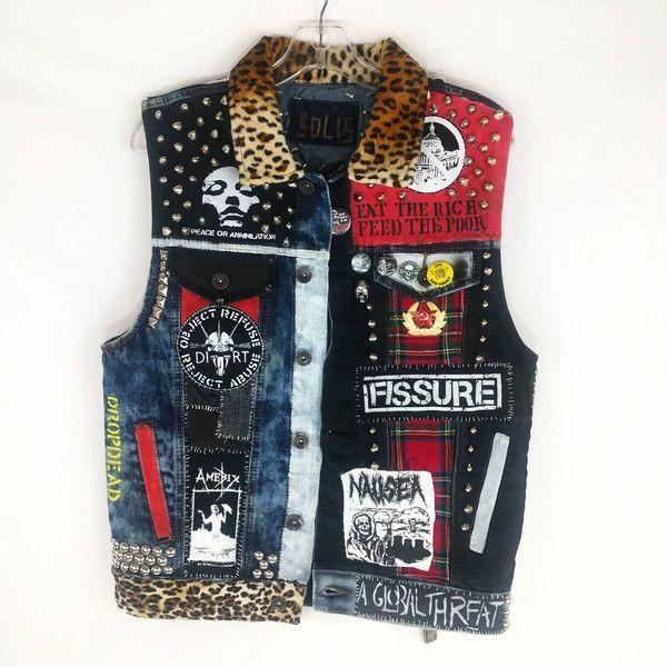 Punk Rock Vest, Denim Punk Vest, Crust Punk Vest, Punk Rock Jacket,... (25,935 PHP) ❤ liked on Polyvore featuring outerwear, vests, studded denim vest, punk rock jean jacket, studded denim jackets, sleeveless denim vest and sleeveless jean jacket