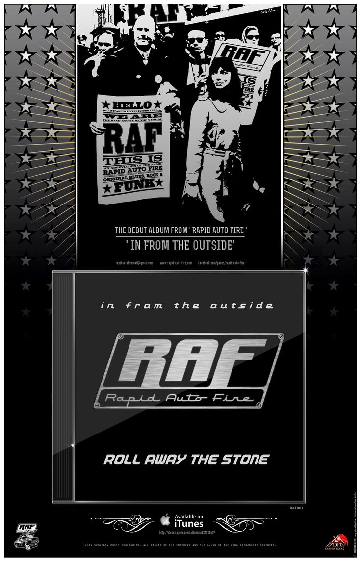 Artwork (MOFO Graphic Rock - mofographicrock@gmail.com) for the release of Rapid Auto Fire's debut album 'In From The Outside' and the corresponding single release: 'Roll Away The Stone'. (Sony ATV)
