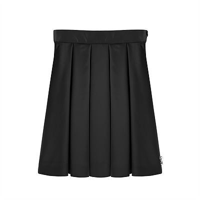 Pleated Satin Skirt – Black. A gorgeous and sumptuous full, knee length skirt, pleated at the waist to give a dramatic and bold silhouette. Outer: 96% Polyester, 4% Elastane. Lining: 100% Acetate. Trim: 100% Nylon. Gentle Dry Clean only