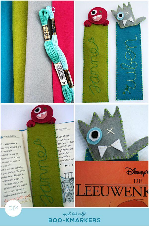 how to make bookmarkers out of felt #diy ; boekenlegger van vilt maken #zelfmaker