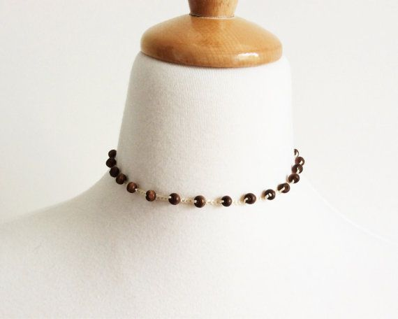 Crochet Necklace with Wood Beads