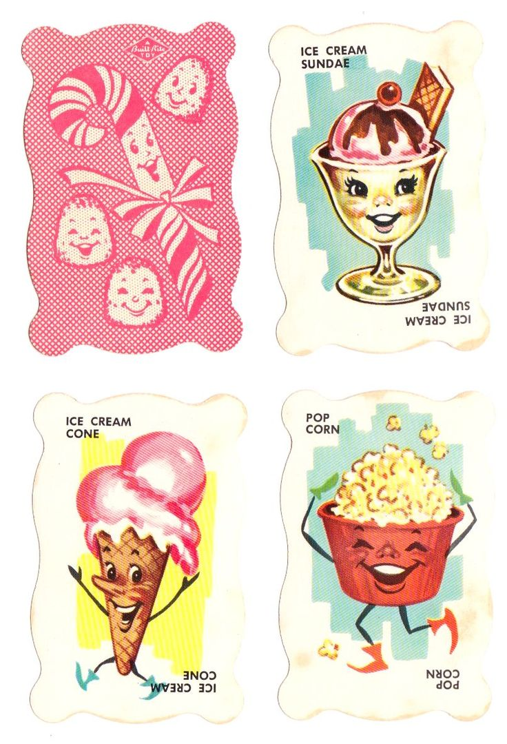 Dandy candy game 1950s the game cards feature adorable food illustrations it
