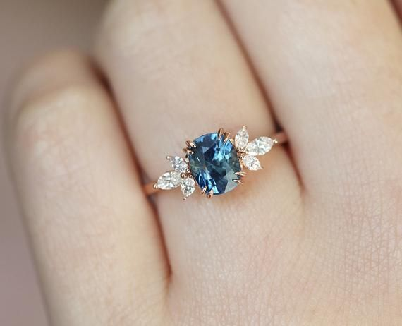 Blue sapphire engagement ring rose gold, blue sapphire and diamond ring, unique blue