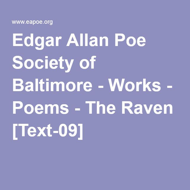 Edgar Allan Poe Society of Baltimore - Works - Poems - The Raven [Text-09]