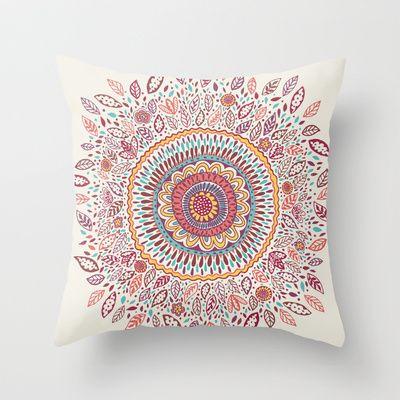 Sunflower Mandala Throw Pillow by Janet Broxon - $20.00