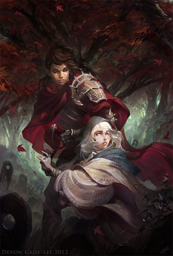 A knight escorts a damsel in distress to safety.  The knight is also a woman.  Unique twist on a theme by Devon Cady-Lee. http://gorrem.deviantart.com/art/The-Escort-337843573