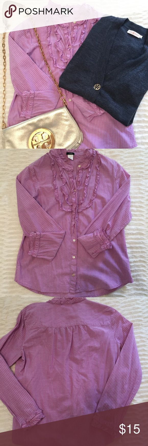 J Crew Top J Crew button down ruffle striped shirt- pink- cute under v neck sweater or vest- good used condition J. Crew Tops Button Down Shirts
