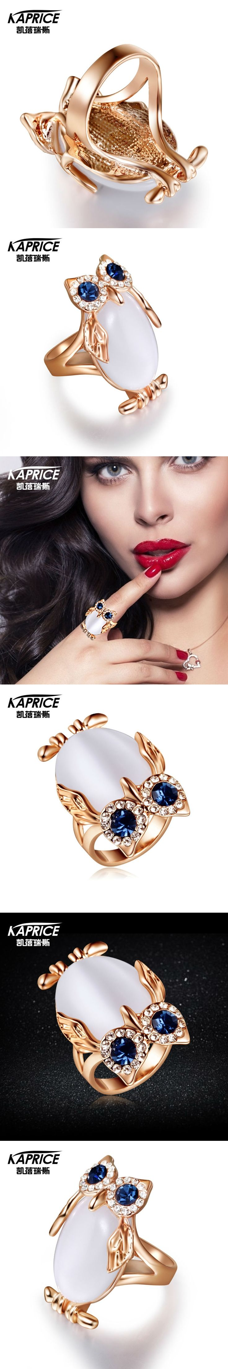 Kaprice Austrian Rhinestone White Cat Eye Stone Owl Rings For Women New Fashion Jewelry 2017 For Gift Russia Wholesale