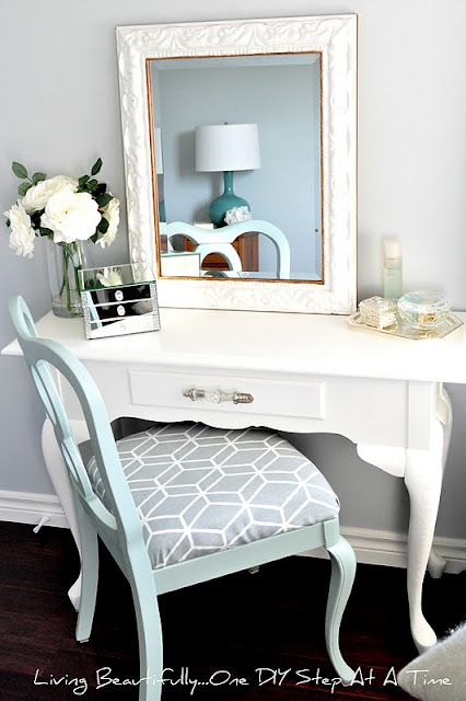 Creative DIYers Club: Stunning white Vanity Table with robin's egg blue reupholstered chair.