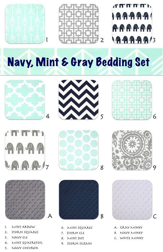 Navy, mint and gray nursery, gender neutral