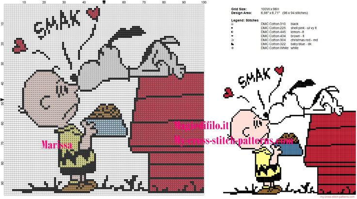 Snoopy kiss Charlie Brown cross stitch pattern