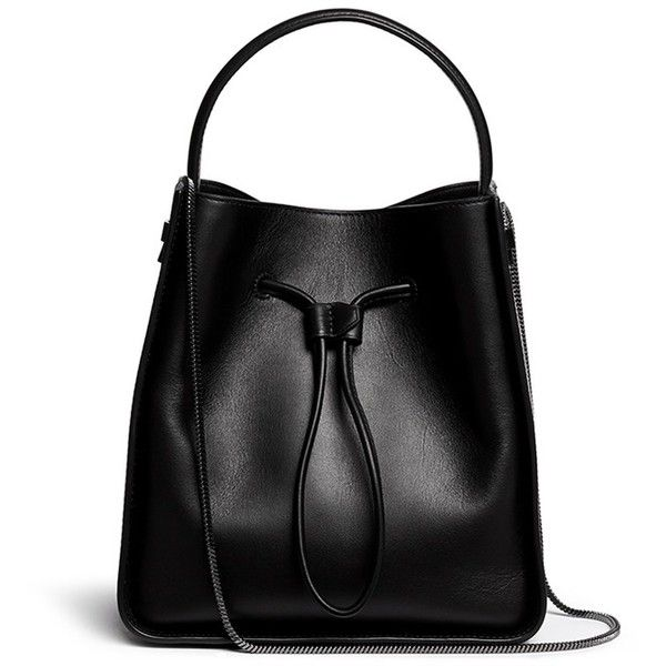 3.1 Phillip Lim 'Soleil' small leather drawstring bucket bag ($1,065) ❤ liked on Polyvore featuring bags, handbags, shoulder bags, purses, black, leather drawstring handbags, genuine leather handbags, black leather shoulder bag, leather handbags and black purse