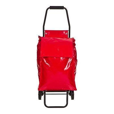 Chariot à roulette en toile enduite rouge  37 x 30 x 97 cm (L x l x h)