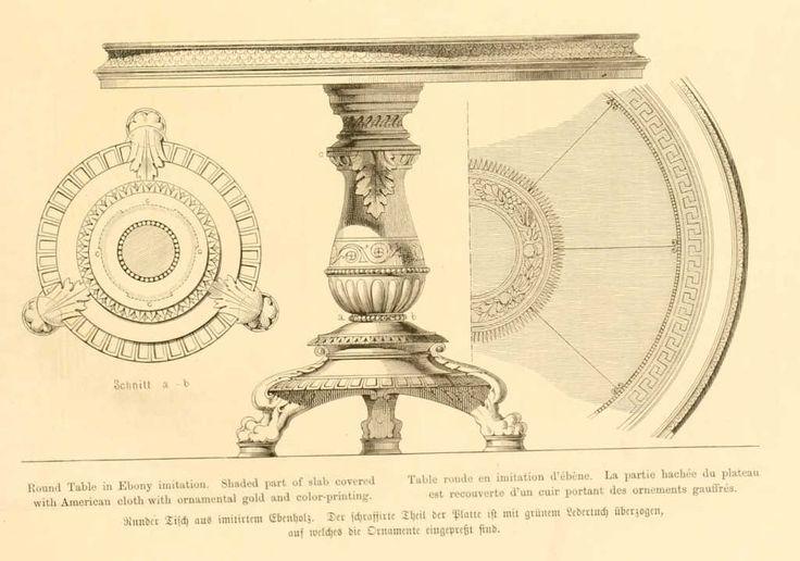 img/dessins meubles mobilier/table ronde imitation ebene recouverte de cuir a ornements gauffres.jpg