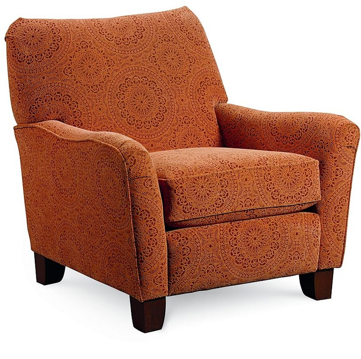 Adorable, comfy reclining accent chair in orange print