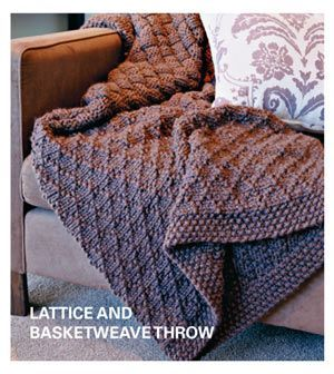 Lattice and Basketweave Throw - Pattern - 3 paneles cosidos