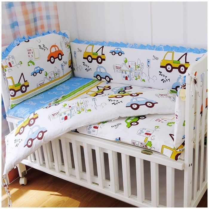 39.80$  Buy here  - Promotion! 6PCS Cot Baby bedding sets crib bumpers for cot set 100% cotton ,include:(bumper+sheet+pillow cover)