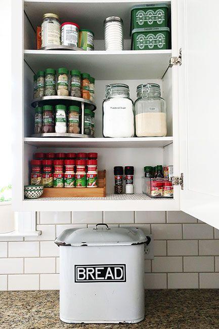 organized cabinet kitchen storage ideas kitchen cabinet rh pinterest com how to organize spices in kitchen cabinet ways to organize spice cabinet