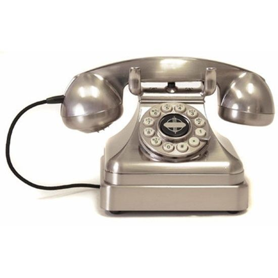 Classic Desk Phone Chrome By Crosley Kettle Rotary Dial Push Button Technology  #CrosleyKettle