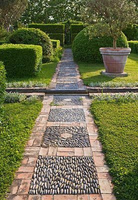 Pebble and Bricks garden path in Provence - Clive Nichols Photography