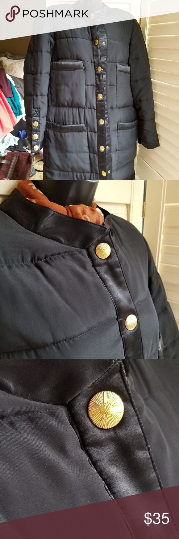 """Saks 5th Ave Blk Quilted Snap Front Puffer Coat L Super cozy Saks Fifth Ave quilted black puffer mid-length jacket with gold tone front snap close - warm enough for football games - stylish enough for evening wear - great condition - no apparent flaws   * Gold snap close on front and sleeves * Small stand-up collar * 4 large patch pockets on front * Approx Flat Msmnts: Shld - Shld 16"""" Slv 29.5"""" (from collar) Bust 22"""" Length 34.5"""" * 100% polyester exterior and lining - Crepe poly body - Satin…"""