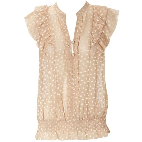 Oasis Spot Devoire Blouse, Tan ($36) ❤ liked on Polyvore featuring tops, blouses, women's tops, oasis tops, elastic waist tops, beige blouse, button top and polka dot blouse
