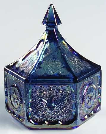 Indiana Glass Tiara Blue Carnival Glass Candy Dish Star Eagle