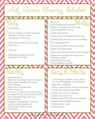 Ask Anna...: Day #14: Get on a Cleaning Schedule {FREE PRINTABLE}