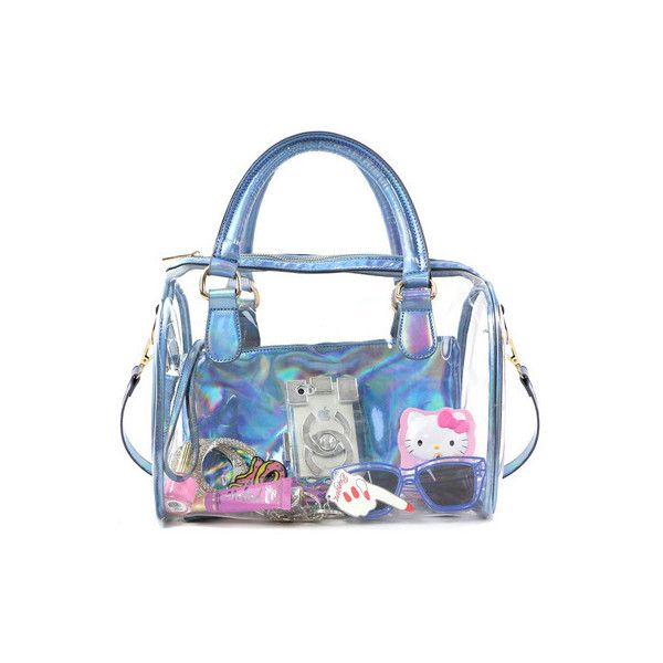 See Through Blue Hologram Tote 65 Liked On Polyvore Featuring Bags Handbags Purse Holographic H