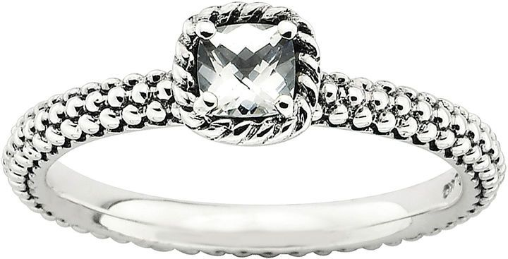JCPenney FINE JEWELRY Personally Stackable Checker-Cut Genuine White Topaz Ring