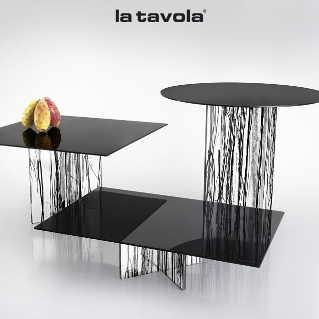 'Black Branch' risers with hardened smoked glass tops from the Mineral &…