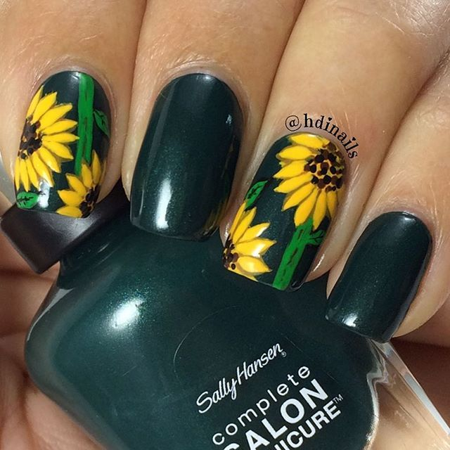 Sunflower Nails, nail art, hdinails