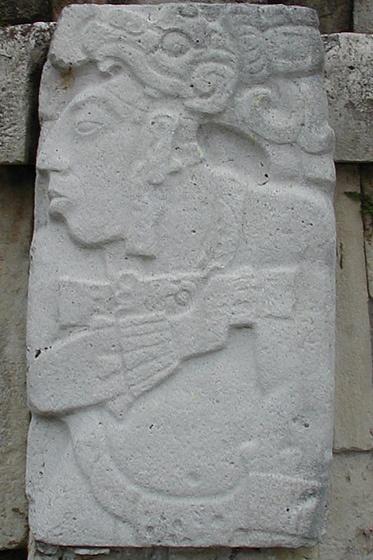 Carving at Palenque Mayan ruins in Chiapas, Mexico.