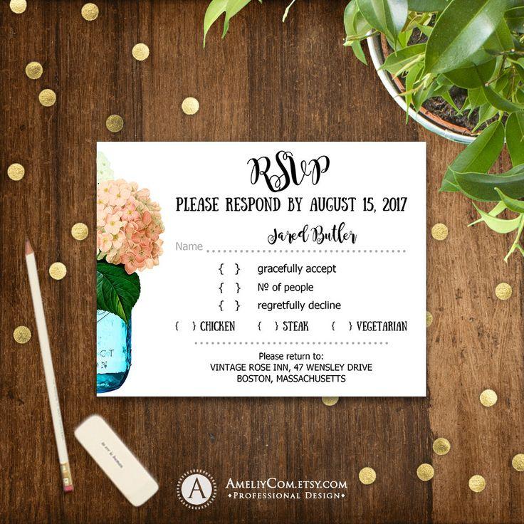 Peach RSVP Card Printable Mason Jar & Creamy Hydrangea Rustic Wedding Reply Card, Response Card Instant Download EDITABLE PostCard Template