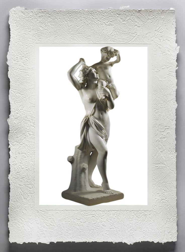 ANTONIO FRILLI (scultore)La statua, riprodotta su pregiata carta fine art fatta a mano dal mastro cartaio Sandro Tiberi, rappresenta una Baccante ed un giovane Bacco. www.mementoarte.com - infomementoarte.com