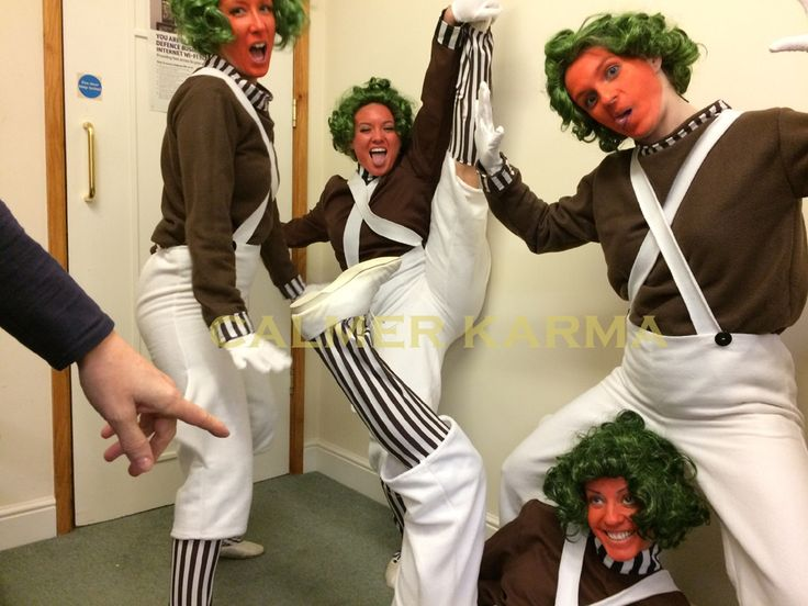 Behind the scenes image of Oompa Loompa dancers getting into character before their grand Willy Wonka entrance.  Perfect for   events and parties across the UK including Manchester, London, Birmingham and Brighton. Tel: 020 3602 9540  http://www.calmerkarma.org.uk/WILLY-WONKA-THEMED-ENTERTAINMENT.html