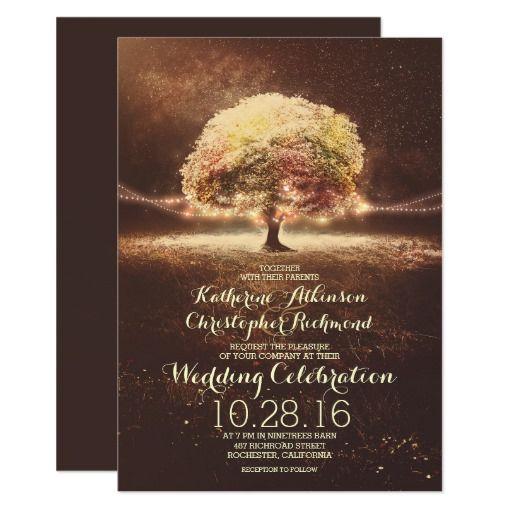 String Lights Tree Elegant Vintage Fall Wedding Card