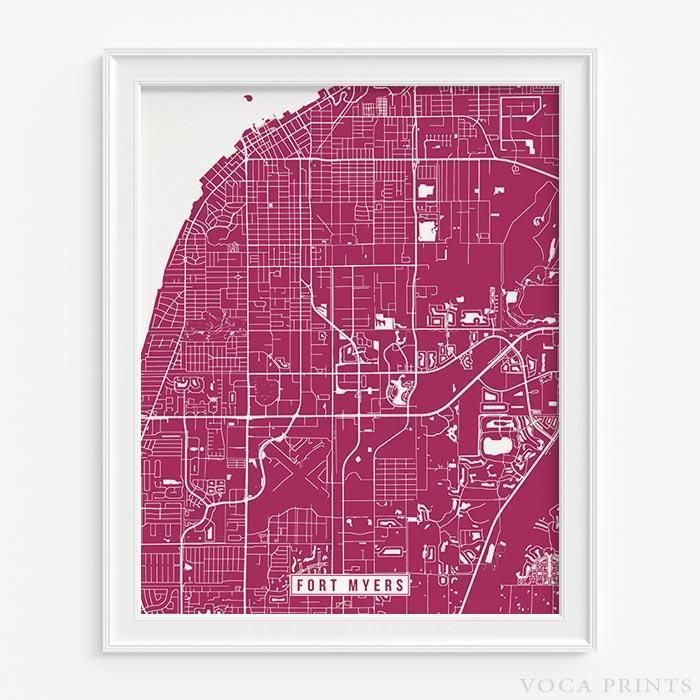 Ft Myers Florida Map.Fort Myers Florida Street Map Print Fort Myers Florida Fort