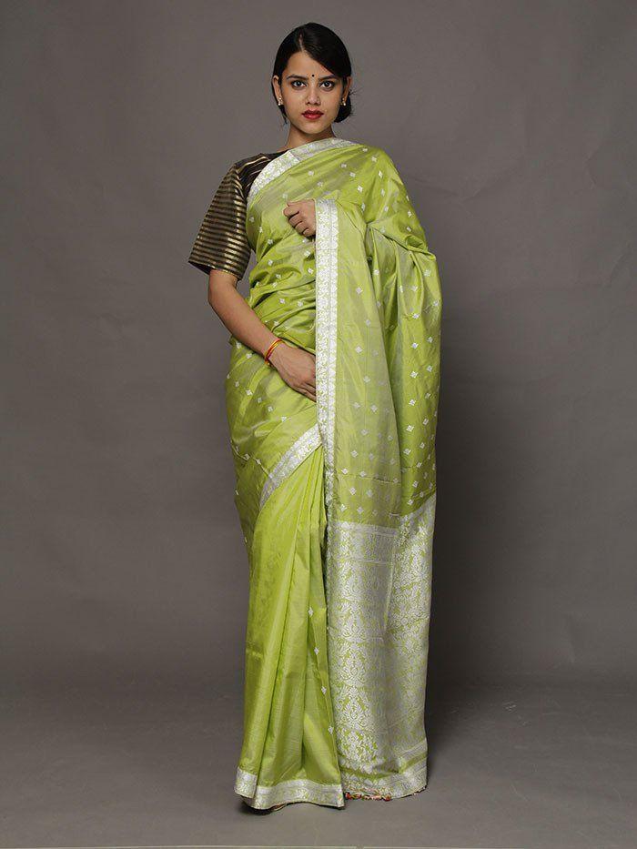 Amaranth Green Assam Silk Saree