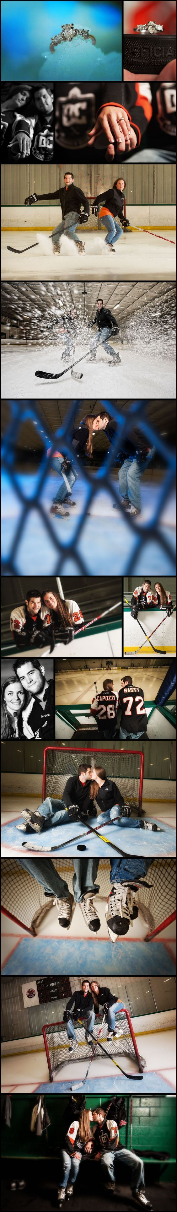 SO MANY great hockey related engagement photos...especially the ring on the puck...awesome! #hockeyweddingtheme #hockeyweddingideas #hockeyweddingphotos #hockeyweddingevents #hockeyweddingdecorations #hockeyweddingcenterpieces #hockeyweddingcake #hockeywedding favors #icehockeywedding #hockeyweddingdress #hockeyweddinginvitations #hockeyweddingring #hockeyweddingreception #fieldhockeywedding #hockeyweddingshower