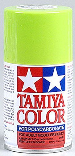 Tamiya Polycarbonate PS-8 Light Green Spray Paint:   This is Tamiya Color Spray Lacquer for Polycarbonate (PS-8 Light Green). For Adult Modelers Only. FEATURES: - Specially developed for decorating transparent polycarbonate bodies used in R/C car modeling- An appropriate amount of paint for finishing one R/C model- This paint is impervious to oil and fuels, so they can be safely used on gas-powered R/C bodies- The color of the lid represents the color of paintYOU WILL RECEIVE: - (1) Sp...