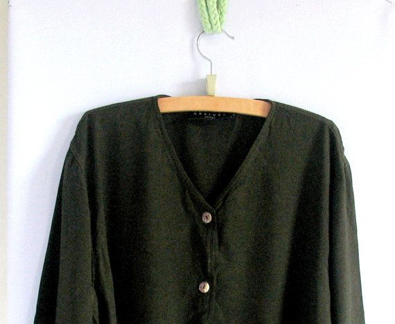 Vintage 90s Olive Shirt / Women's Button Up by vintachi on Etsy, $19.00