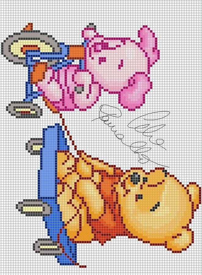 Winnie the Pooh & Piglet Cross Stitch Pattern