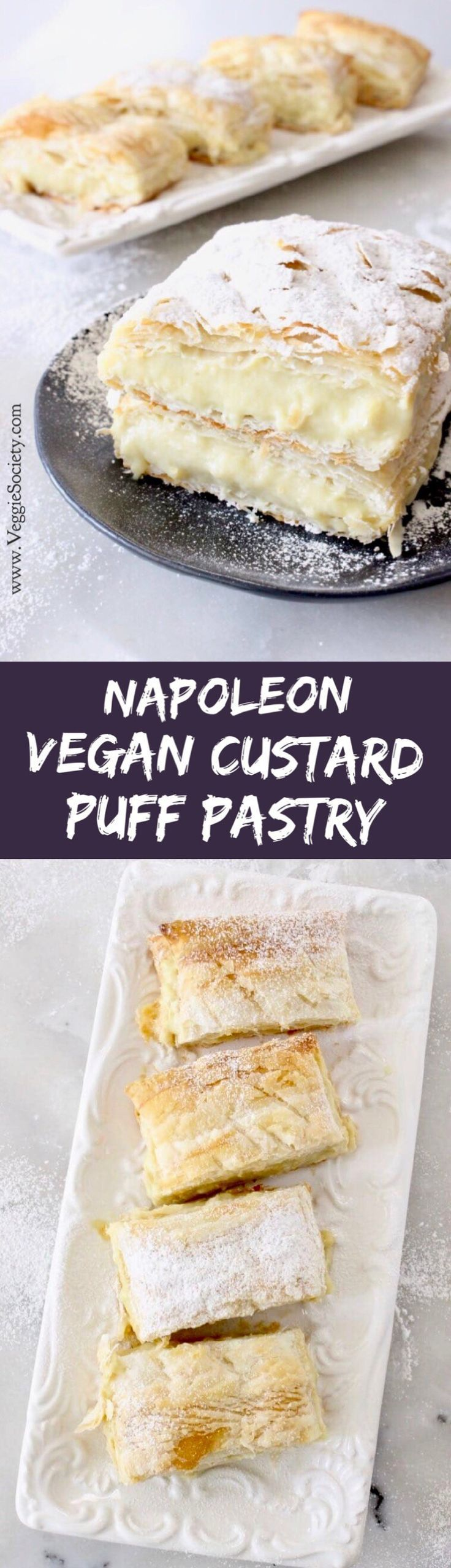 Easy vegan custard puff pastry made with rich coconut and cashew milk, vanilla and tapioca #vegandesserts #plantbased #easyrecipe #puffpastry