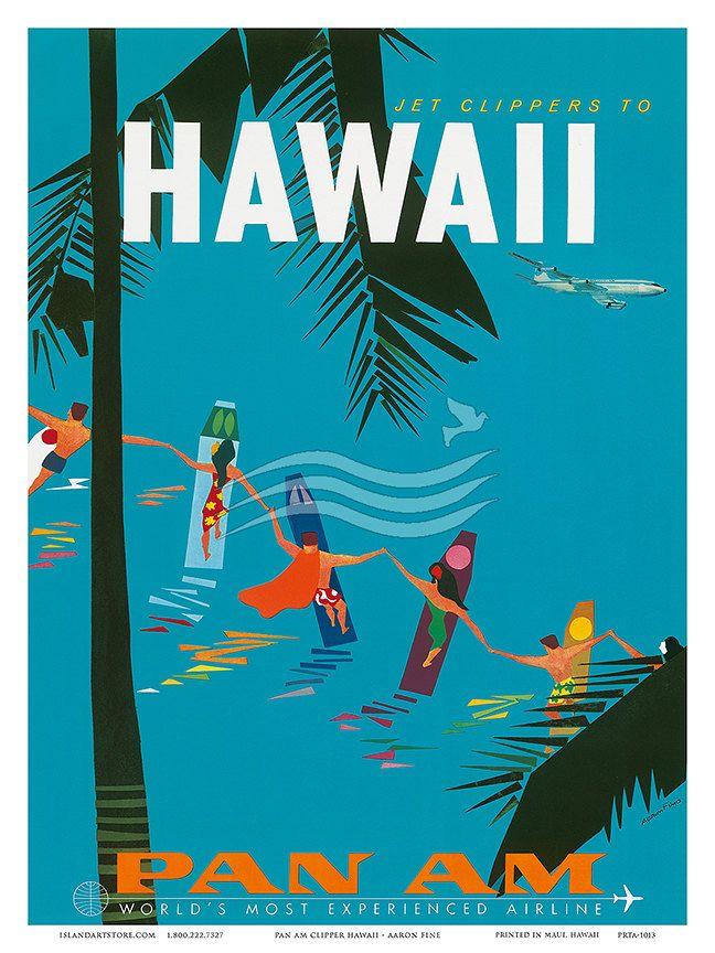 Hawaii Pan American Pan Am Surfers Aaron Fine Art Vintage Digital Poster Art Print 1960s #vintage #travel #posters