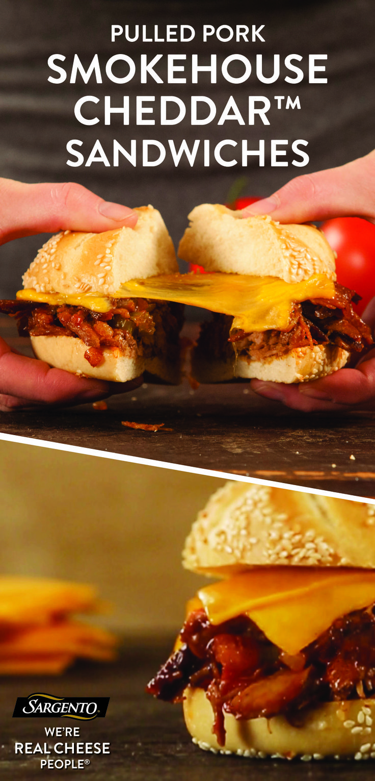 Enjoy the flavors of your favorite smokehouse barbecue joint in the comfort of your own home. This easy pulled pork sandwich recipe can be whipped up in 30 minutes for a decadent, delicious lunch or dinner treat. Pulled pork, barbecue and Worcestershire sauce, and slices of our 100% real, natural Smokehouse Cheddar cheese seal the deal. Get the full recipe on Sargento.com.