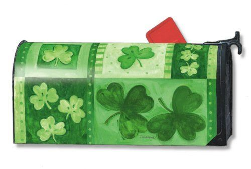 "Shamrock Collage St. Patricks Day Magnetic Mailbox Cover by Gold Crest. $14.99. Vinyl coated and screen printed for long lasting beauty.. Decorative mailbox covers include 3 sets of self-adhesive numbers.. Snaps into place with 2 strong magnetic strips.. Mailwraps Mailbox Covers fit standard metal mailbox 6.5"" wide and 19"" long.. MailWraps  St. Patrick's Day Mailbox Covers  fit standard metal mailbox 6 1/2 wide x 19 deep. Magnetic mailbox cover attaches using ..."
