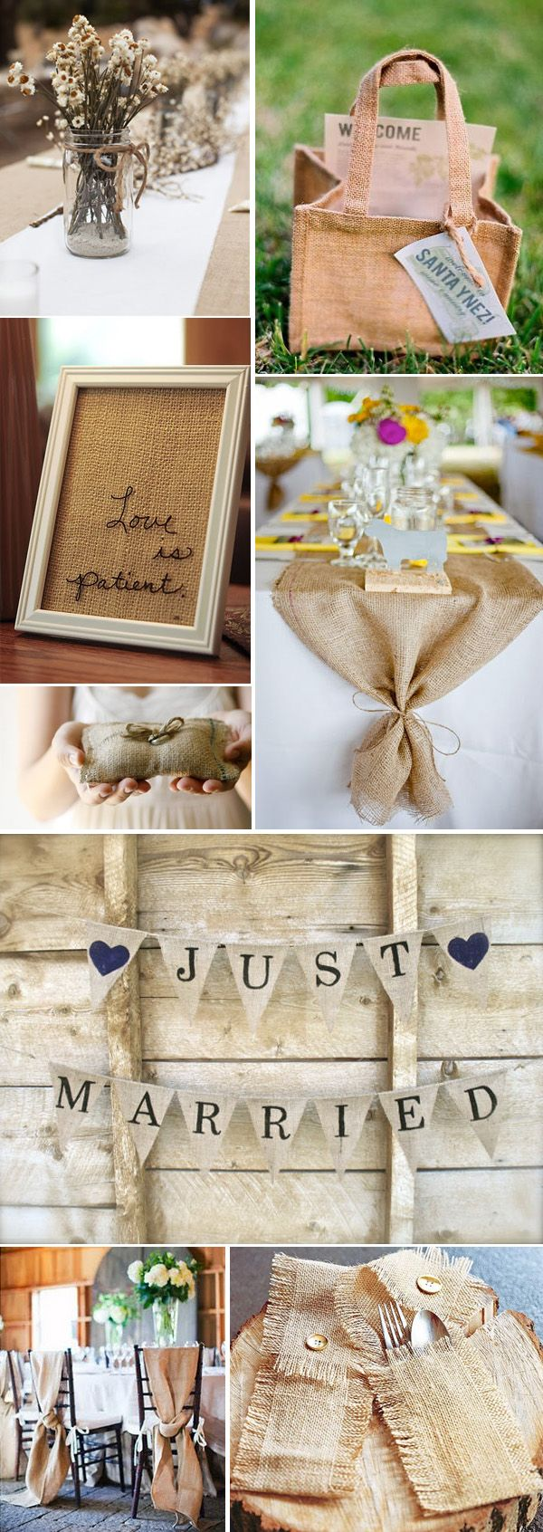 lots of farm wedding burlap uses ... Maybe for chairs? And they have mason jar idea