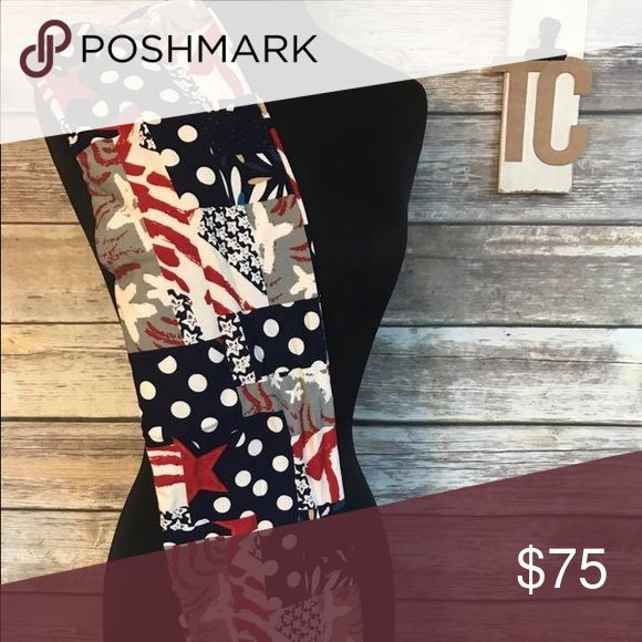 AMERICANA LULAROE TC LEGGINGS!! Rare and HTF Americana print from the new 2017 Capsule!  Smoke free pet free home.  Ships in 24hrs with tracking number!  Sizing is Tall &Curvy which covers 10-22 per Lularoe.  Price Firm unless bundled LuLaRoe Pants Leggings
